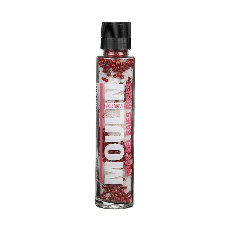 Moulin Gros Sel Baies Roses - Grobes Salz mit Rosa Pfefferbeerenin der Mühle