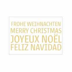 Postkarte - Frohe Weihnachten, Merry Christmas, Joyeux Noël, Feliz Navidad