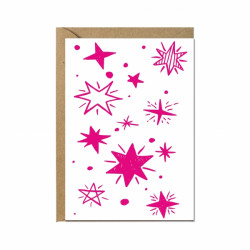 Faltkarte - Sterne in Pink