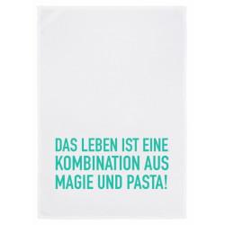 Geschirrtuch weiss - Motiv - Das Leben ist eine Kombination aus Magie und Pasta