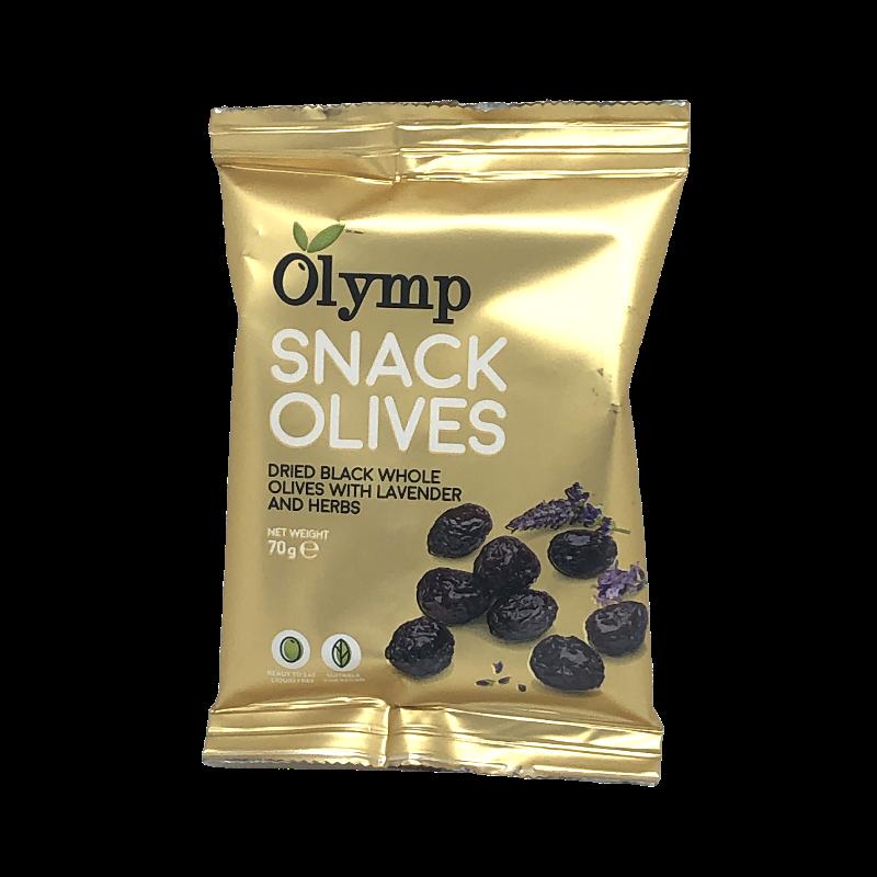 Olymp - Schwarze getrocknete Snack Oliven mit Lavendel und Kräutern