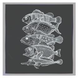 Servietten Set 2 Stück grau - 5 Fische