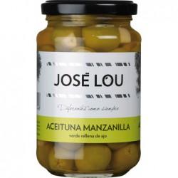 Aceituna Manzanilla Verde con Ajo mit einer Knoblauchzehe gefüllte Manzanilla Oliven in Salzlake